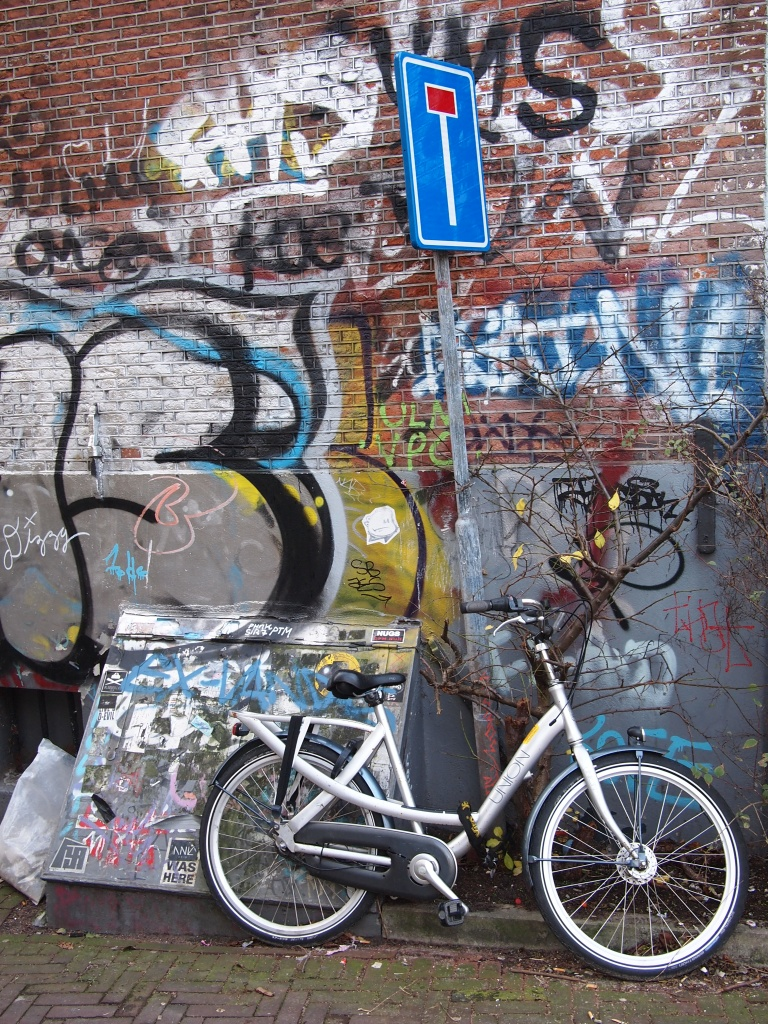 Sign says dead end. Bike and wall say something else...
