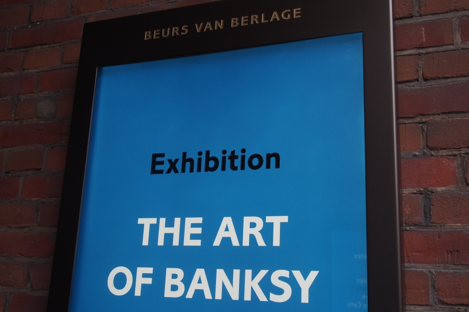 The Banksy exhibition in Amsterdam's Beurs van Berlage.